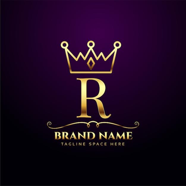 Logotipo de tiara de coroa real luxo r Vetor grátis