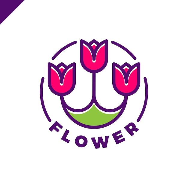 Logotipo de três flores no estilo de linha em círculo. ícone tulip spa. cosmética hotel garden beauty salon logotype conceito. Vetor Premium