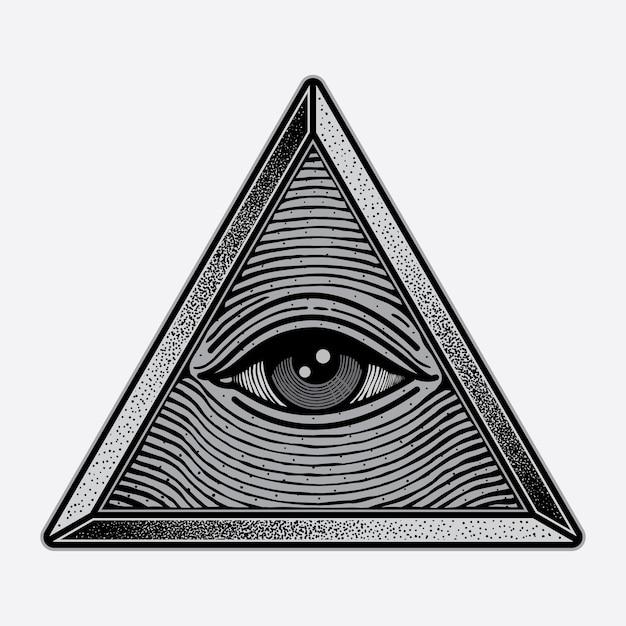 Logotipo de triângulo de olhos de símbolo Vetor Premium