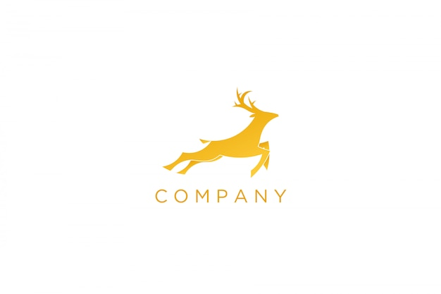 Logotipo de veado correndo amarelo moderno Vetor Premium
