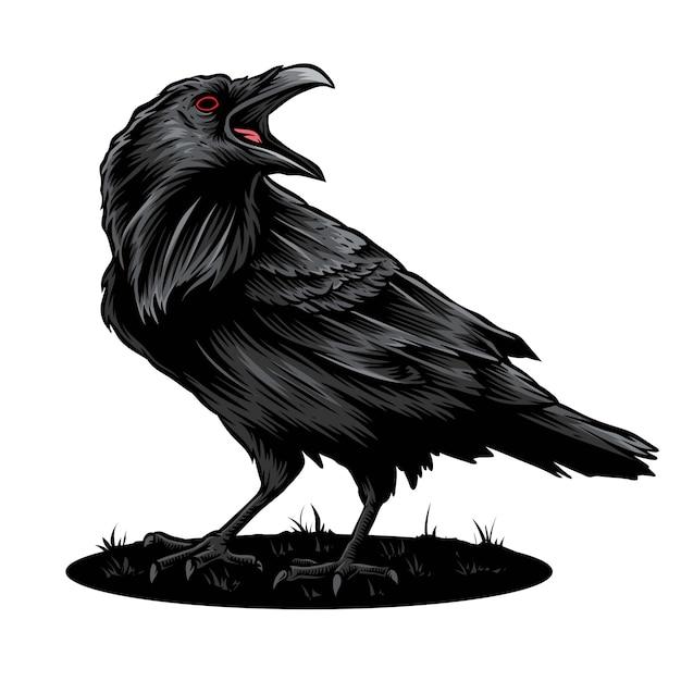 Logotipo de vetor e ilustração de corvo Vetor Premium