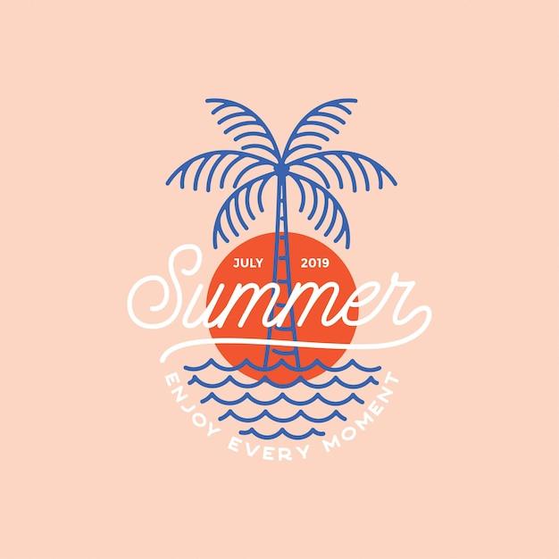 Logotipo de vibrações de verão Vetor Premium