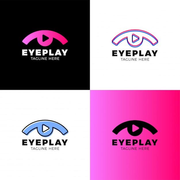 Logotipo de vídeo eye Vetor Premium