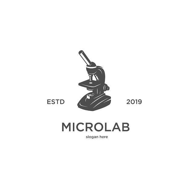 Logotipo de vintage de silhueta de laboratório de microscópio Vetor Premium
