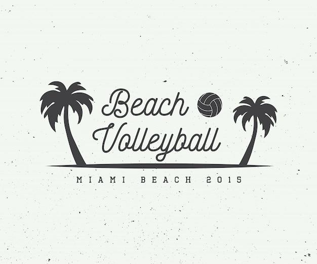 Logotipo de vôlei de praia Vetor Premium