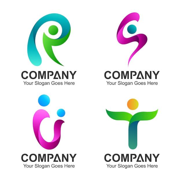 Logotipo definir combinação de letra inicial com forma de pessoas Vetor Premium