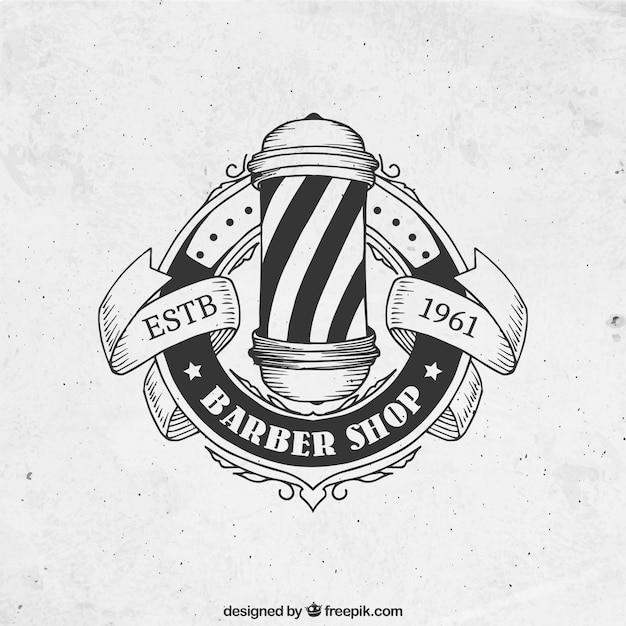 logotipo Desenho barbearia no estilo do vintage Vetor grátis