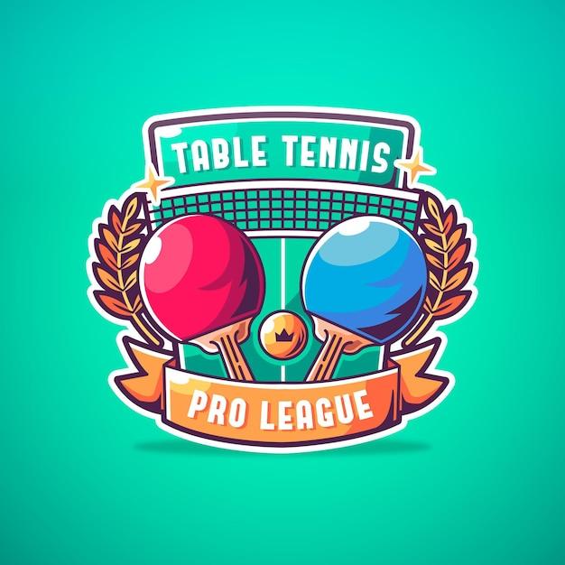 Logotipo detalhado de tênis de mesa Vetor grátis