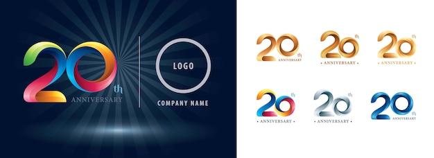 Logotipo do aniversário de 20 anos de comemoração, logotipo de fitas de torção. Vetor Premium