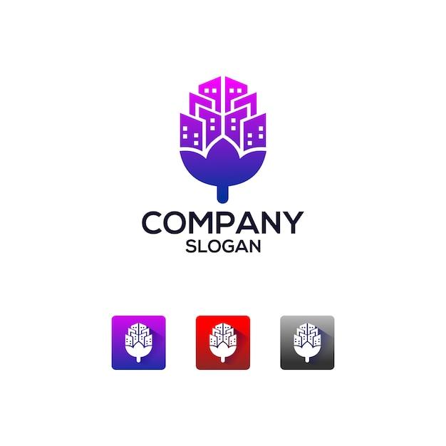 Logotipo do aplicativo imobiliário Vetor Premium
