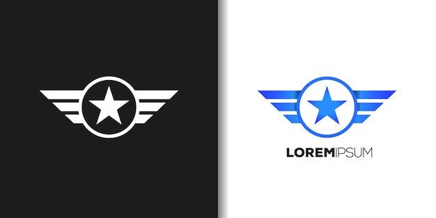 Logotipo do avião azul Vetor Premium