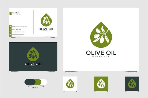 Logotipo do azeite e modelo de design de cartão de visita, gota, marca, óleo, beleza, verde, ícone, saúde Vetor Premium