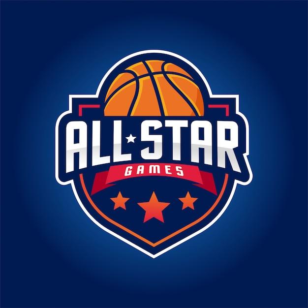 Logotipo do basquete, esporte americano do logotipo Vetor Premium