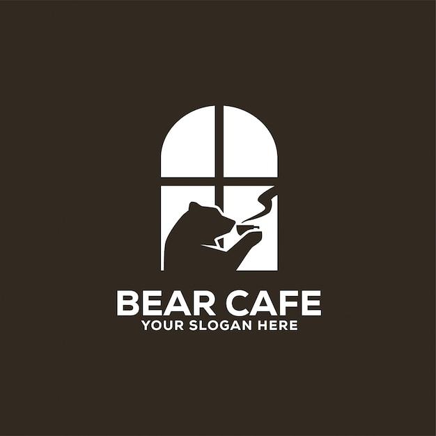 Logotipo do bear cafe Vetor Premium