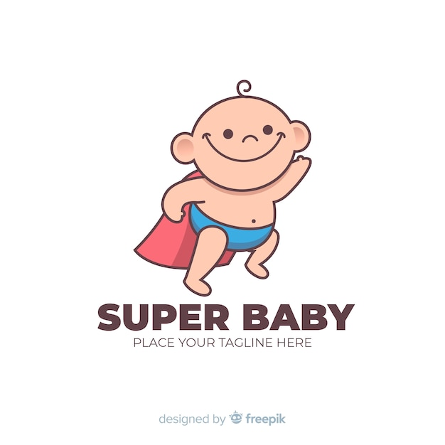 Logotipo do bebê super Vetor grátis