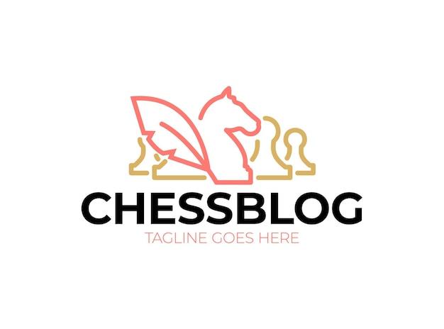 Logotipo do blog de xadrez. cavaleiros e peões de ícone vintage Vetor Premium