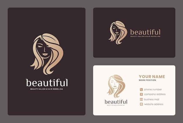 Logotipo do cabeleireiro / salão de beleza com cartão de visita. Vetor Premium