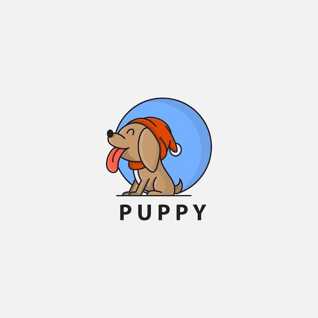 Logotipo do cachorro saindo da língua Vetor Premium