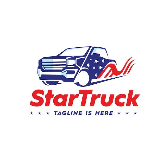 Logotipo do caminhão da estrela Vetor Premium