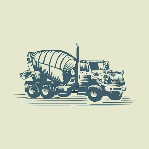 Logotipo do caminhão de cimento Vetor Premium