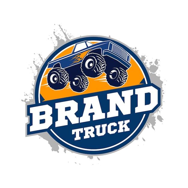 Logotipo do caminhão de monstro Vetor Premium
