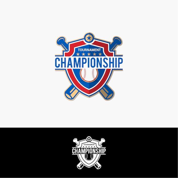 Logotipo do campeonato de beisebol Vetor Premium