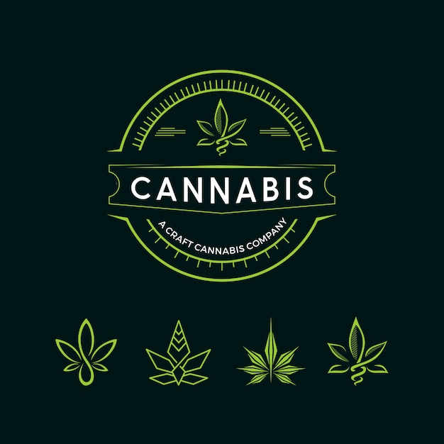 Logotipo do cannabis vintage Vetor Premium