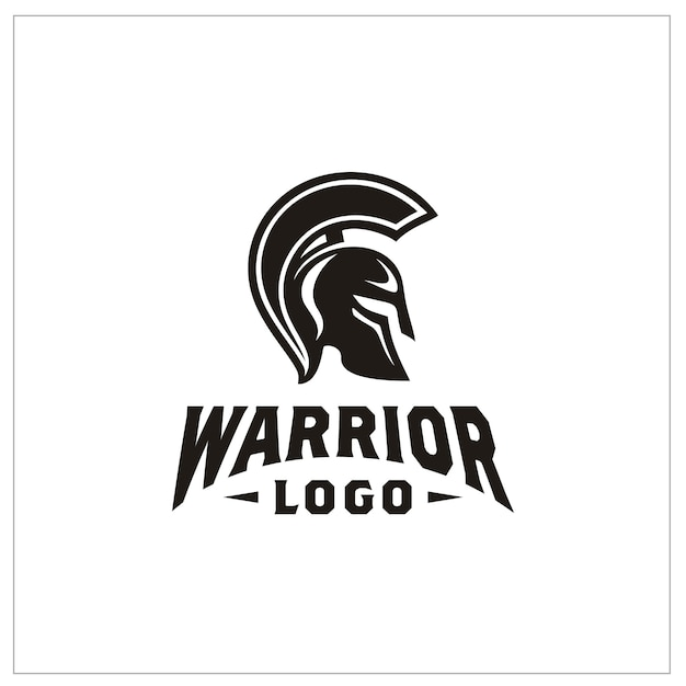 Logotipo do capacete de guerreiro espartano Vetor Premium
