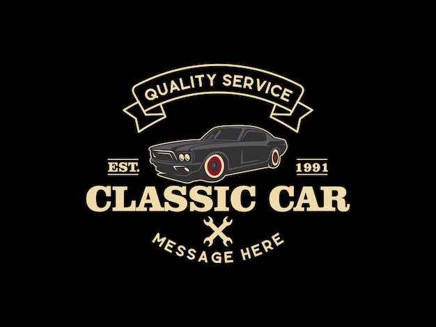 Logotipo do carro clássico Vetor Premium