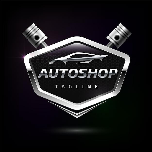 Logotipo do carro metálico realista Vetor grátis