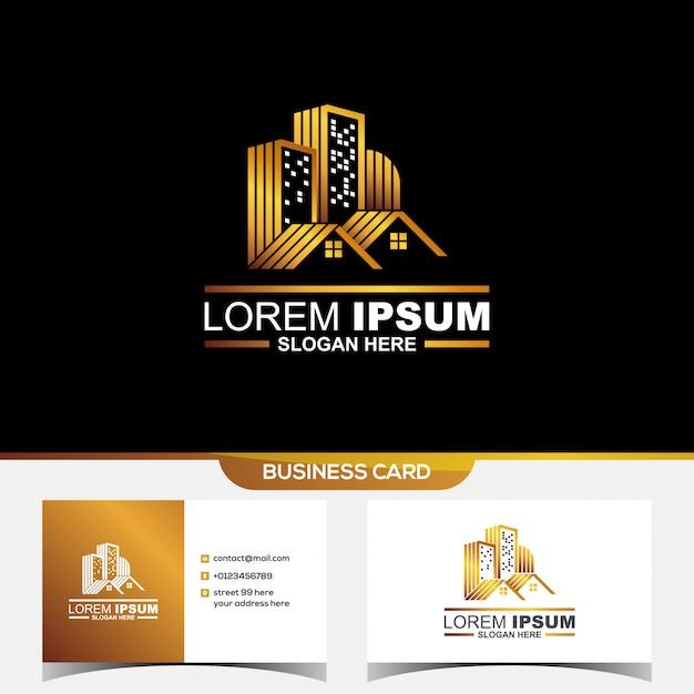 Logotipo do cartão imobiliário Vetor Premium