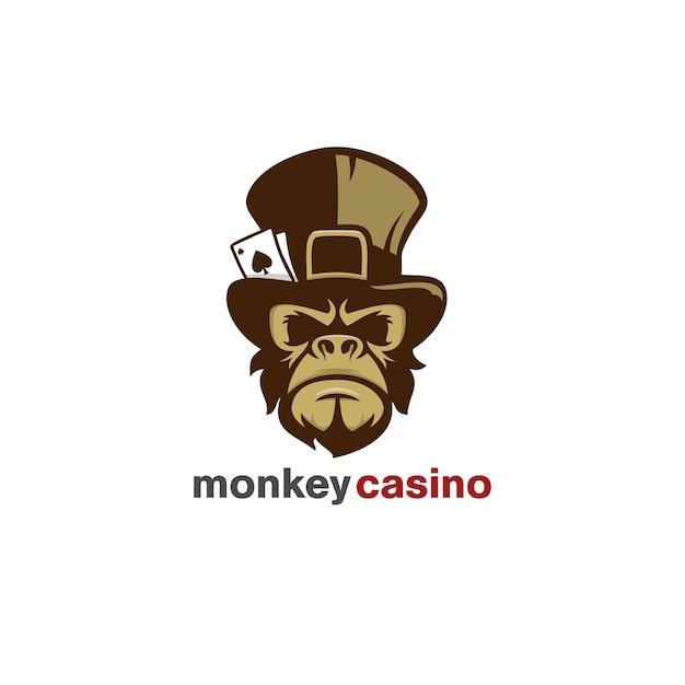 Logotipo do casino do macaco Vetor Premium