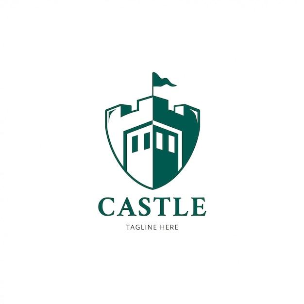 Logotipo do castelo Vetor Premium