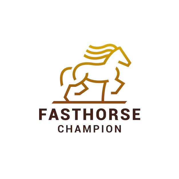 Logotipo do cavalo dourado Vetor Premium