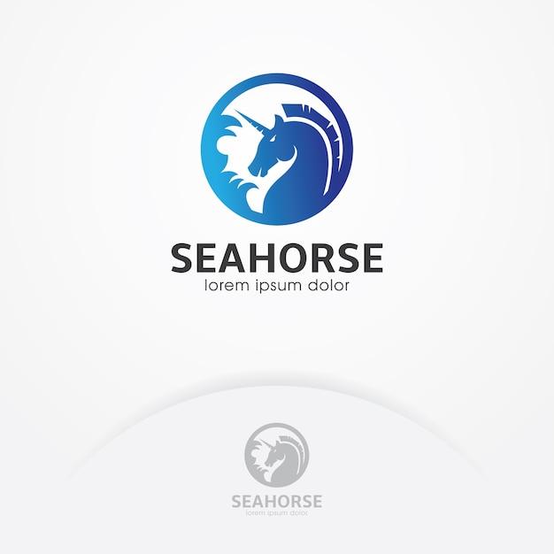Logotipo do cavalo-marinho com círculo Vetor Premium