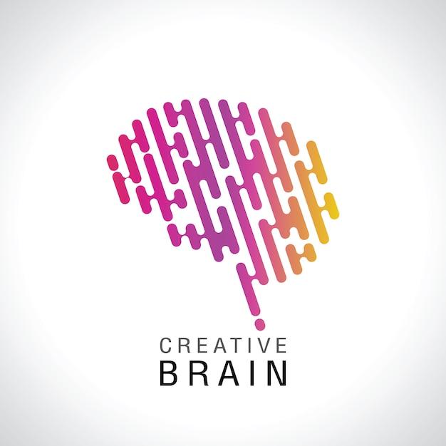 Logotipo do cérebro colorido abstrato Vetor Premium