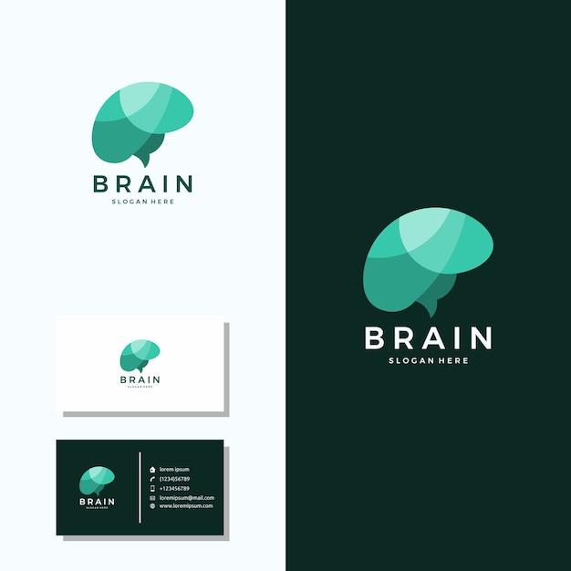 Logotipo do cérebro com design de logotipo de cartão de visita Vetor Premium