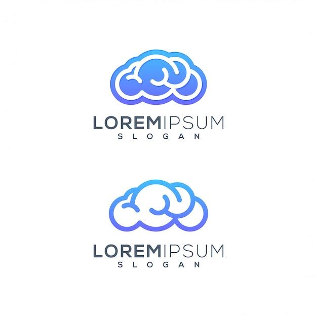 Logotipo do cérebro de nuvem Vetor Premium