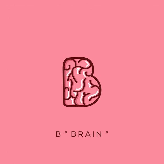 Logotipo do cérebro Vetor Premium