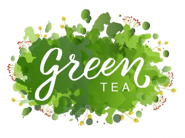 Logotipo do chá verde Vetor Premium