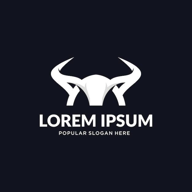 Logotipo do chifre de touro Vetor Premium