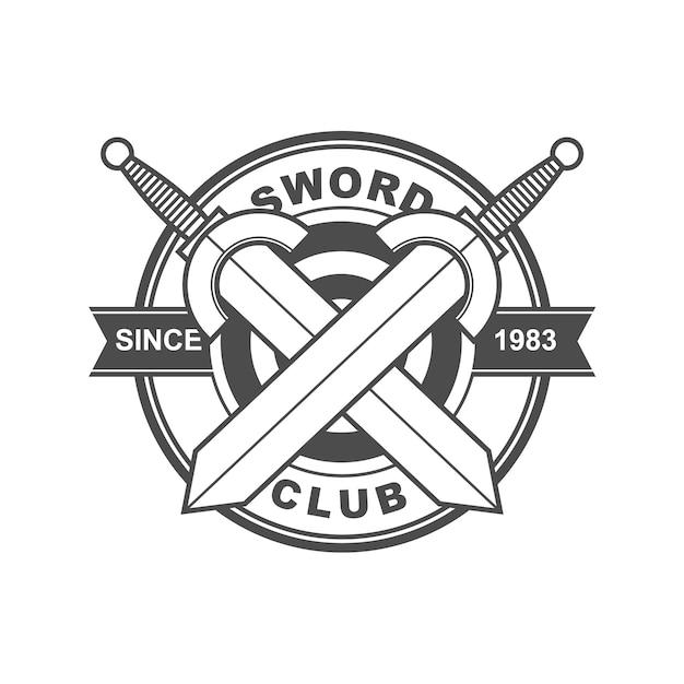 Logotipo do clube da espada Vetor Premium