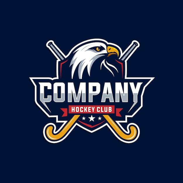 Logotipo do clube de águia e hóquei Vetor Premium
