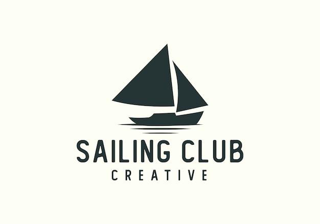 Logotipo do clube de barco à vela criativa Vetor Premium
