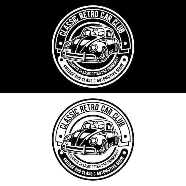 Logotipo do clube de carros clássicos Vetor Premium