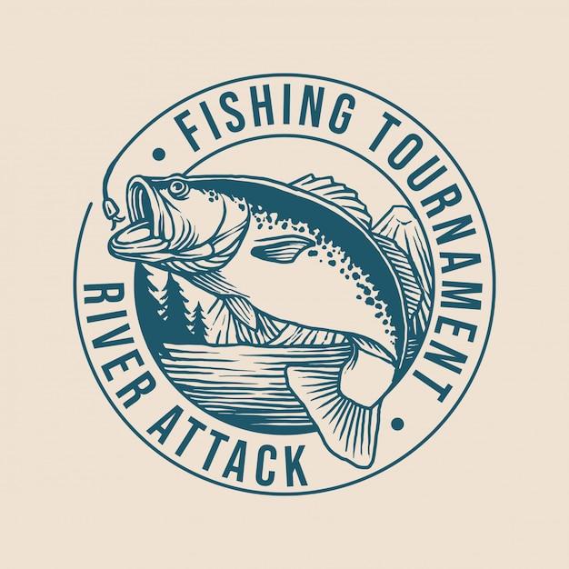 Logotipo do clube de pesca Vetor Premium
