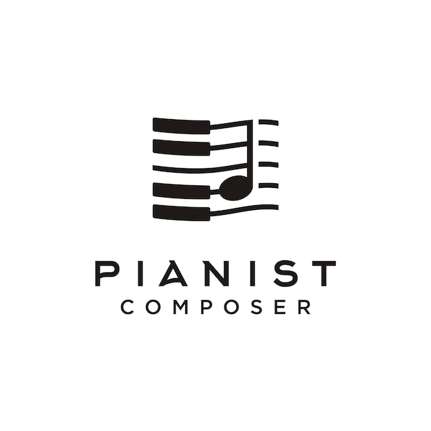 Logotipo do compositor de música de piano Vetor Premium