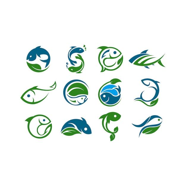 Logotipo do conceito de fazenda. modelo com fazenda e peixe. rótulo para produtos agrícolas naturais. Vetor Premium