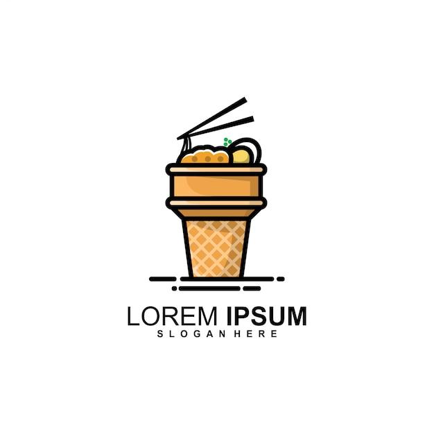 Logotipo do cone de macarrão Vetor Premium
