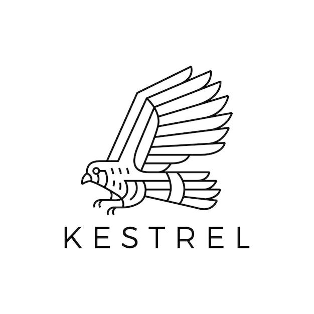 Logotipo do contorno do pássaro kestrel em monoline Vetor Premium